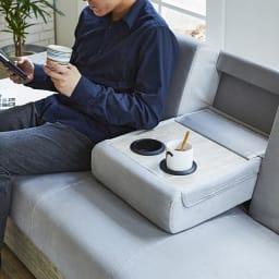 Katevasoh/カテバソー 収納付きマルチソファベッド (イ)ホワイト サイドテーブル使用時