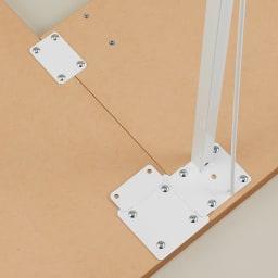 サイズが選べる スチール製コーナーデスク2台セット(幅90cm+幅150cm) 連結部分を金具で補強できるので、しっかり固定され安定感があります。