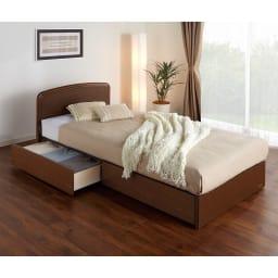 フランスベッド BOX引き出し付ベッド マルチラススプリングマットレス(レギュラーマット)付き (使用イメージ)(イ)ブラウン ※写真はシングルタイプです。