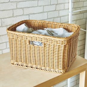 洗えるラタン調バスケット(1個) 写真