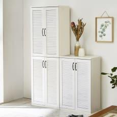 省スペースで快適なルーバー扉シューズボックス(幅60、高さ180cm)