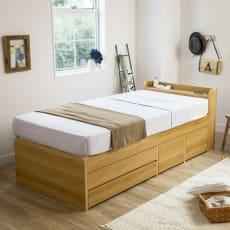 枕元すっきり収納付き天然木調チェストベッド(高密度ポケットコイルマットレス付き)