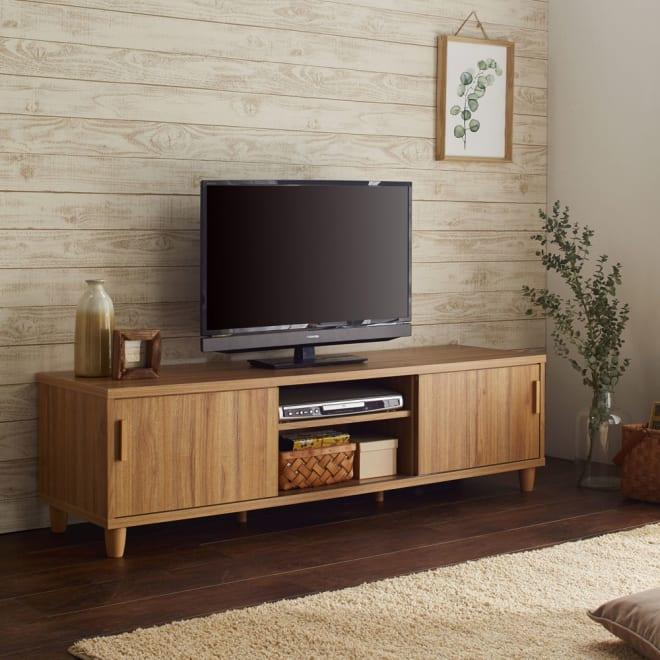 北欧風脚付き引き戸テレビボード (ア)ナチュラル  木目が美しい天然木調のスライド式扉仕様のテレビボード!