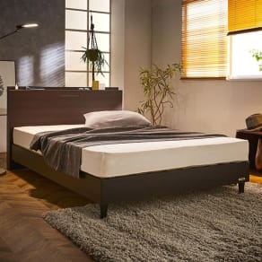 【ダブル】フランスベッド 棚照明マットレス付きベッド 写真