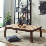 【長方形】ヘリンボーン柄こたつテーブル幅120cm 奥行80cm 〈ウエイブ〉 写真
