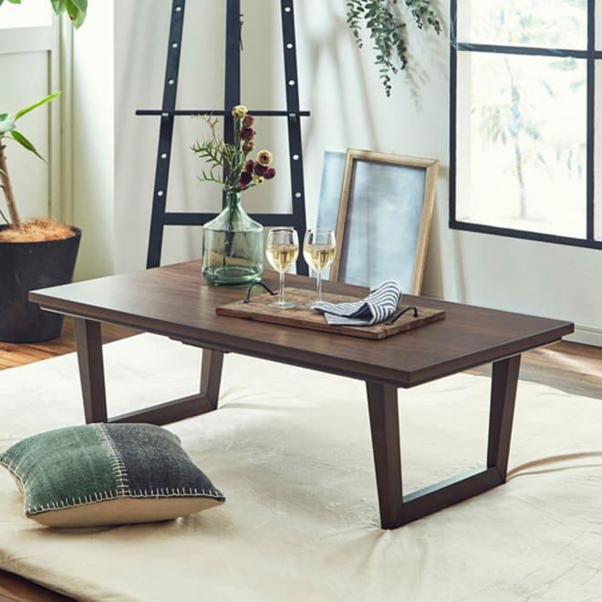 【長方形】テーパード調こたつテーブル 幅120cm 奥行65cm 〈サルトス〉 テーパード調のデザイン性が高い脚を使用したこたつテーブルです。(イ)ウォルナット