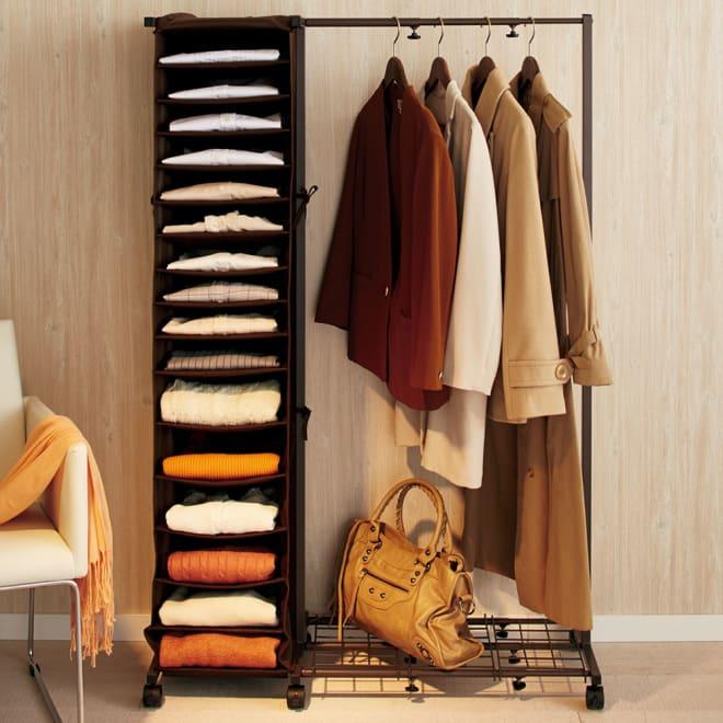 ワイシャツ&ニット収納ラック付き 伸縮ハンガーラック 使用イメージ(イ)ダークブラウン