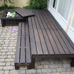 天然木製サンデッキ ステップ レイアウト例