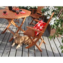 折りたたみ八角形テーブル&チェア アームチェア2脚組