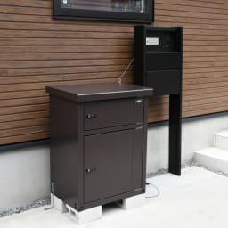 宅配収納BOX 2BOX P-BOX ピーボ 「宅配ボックス」表示マグネットシールは取り外し可能。