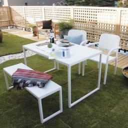 庭座 シンプルアームチェア2脚組