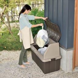 家庭用プラスチック収納庫<ブラウン> ゴミ保管庫としても