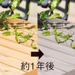 g-STYLE サーモウッドテーブル 5点セット ≪約1年後≫時を経るほどに味わいが増します。 ※自然環境によって変化具合は異なります。