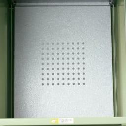 欧風キャスター付きダストボックス 90L 底板はパンチングメッシュ仕様。水はけと通気性がよく、においがこもりません。