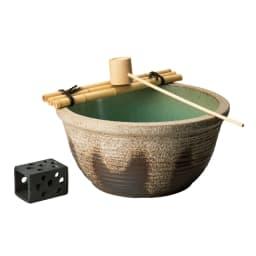 信楽焼 水鉢セット 13号 (ア)アイボリー系 さらにひしゃくとわたしもお付けします。