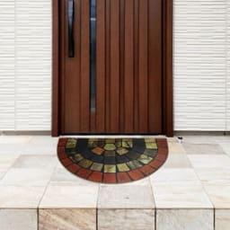 エントランスラバー玄関マット45×75cm (エ)セミサークルステンドタイル