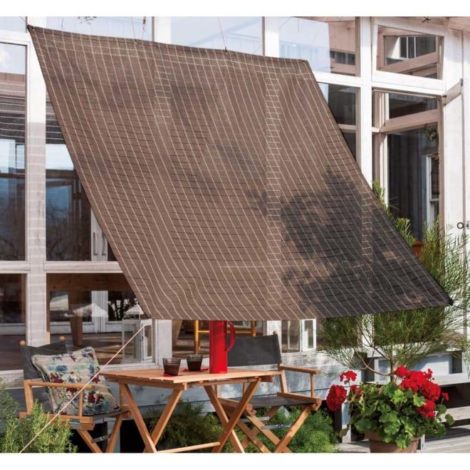 【訳あり】200×300cm(サマーオーニング タープ)ブラウンブロック色 オシャレなブラウンブロック柄