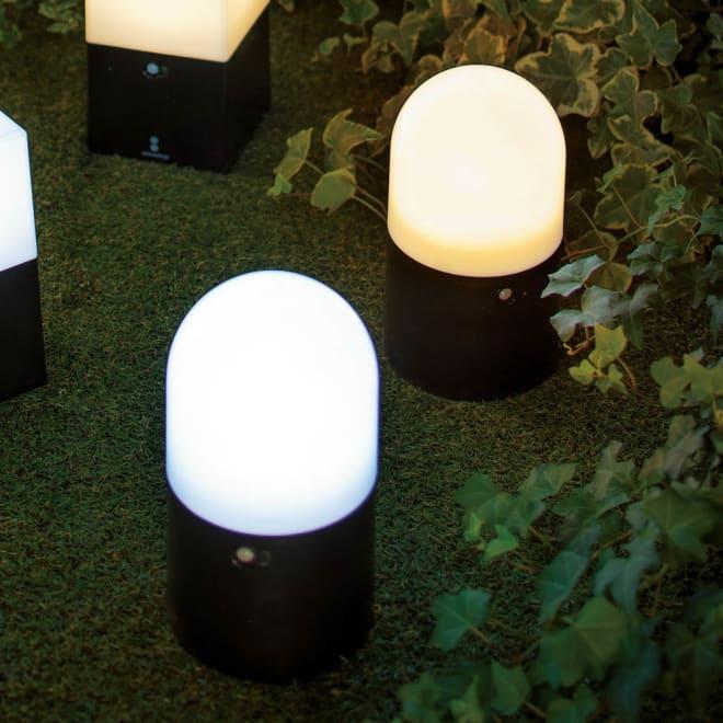 電池式LED人感センサーライト 2個組・丸 左から(ア)昼白色、(イ)電球色