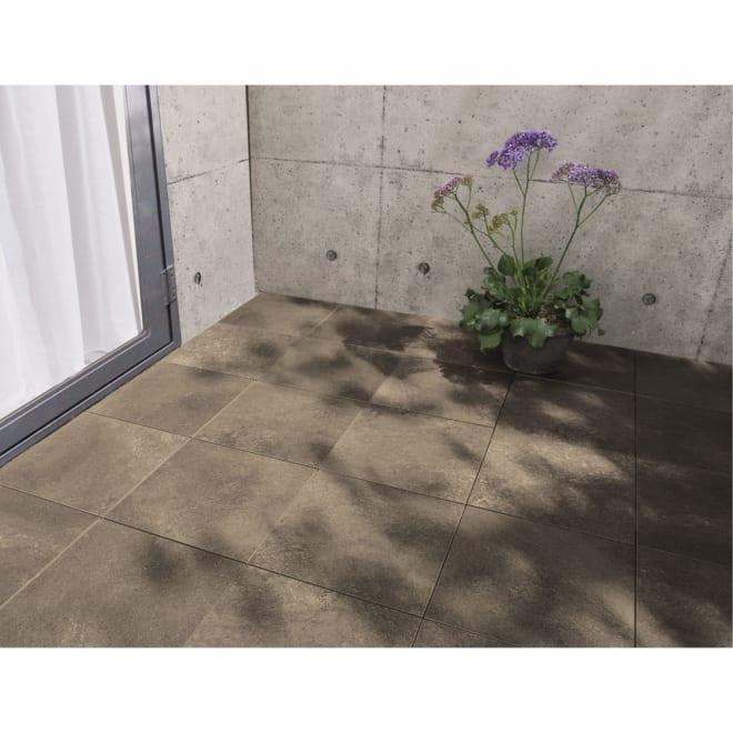 モダンタイルジョイント式マット 9枚組 (ア)ローズグレー コンクリートの床がグンと高級に。陰影のある色合いが奥行を感じさせる磁器マット。