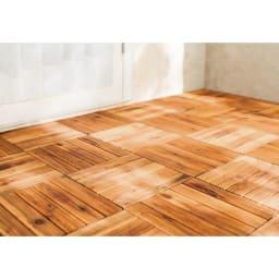 木製ジョイントデッキパネル 9枚組 (ア)ナチュラル 使用例