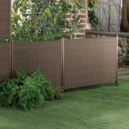 簡単リフォーム目隠しラタン調フェンス 幅120cm ロータイプ 1枚 お庭になじむラタン調で設置は挿し込むだけ。ハイは視線をしっかり遮り、ローは背景をやんわり目隠し。