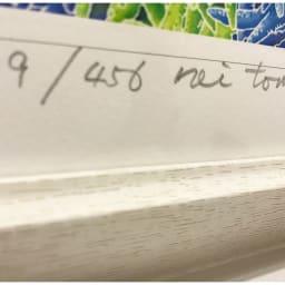 たきどぅんのシーサー 作品には全てエディションナンバーと作者の直筆サインが入ります。額の自然の木目を生かした木製額。シンプルで温かみのある額です。