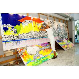 SNOOPY(スヌーピー)/トム・エバハート アンディ(DOGG POUND GANGSTA)アート|PEANUTS トム・エバハート作業風景