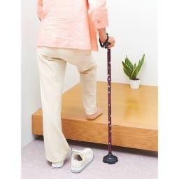 握りやすい4ポイントステッキ 婦人用杖 玄関などの段差に