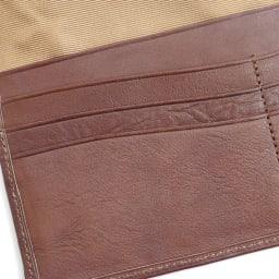 わちふぃーるど/エンペラー長財布 茶・ダヤン なだらかにカーブしたカットラインのカードポケット