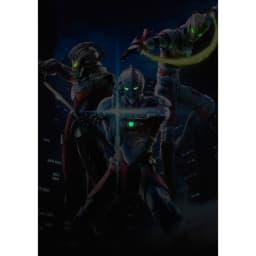 アニメ・ウルトラマン/ULTRAMAN アート・ハイブリッド・限定版 暗くなると目とカラータイマー部分がうっすらと光り浮かびあがります