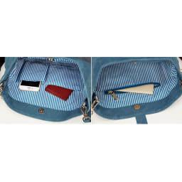 【WEB】SNOOPY(スヌーピー)/幸せのパッチワーク ショルダーバッグ|PEANUTS ストライプ模様の内側にはオープンポケットが2つ、鍵や貴重品に安心のファスナーポケット付き