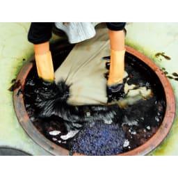 【WEB】SNOOPY(スヌーピー)/しあわせのジャパンブルー 阿波藍長財布|PEANUTS 江戸時代からつづく伝統の天然灰汁発酵建て。蓼藍の葉を発酵させ、さらに灰汁などを加えて発酵させます。
