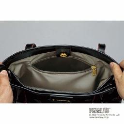 【WEB】SNOOPY(スヌーピー)/クールストライプ 西陣織おでかけトート 内側ファスナーポケット
