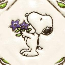 【WEB】SNOOPY(スヌーピー)/浅草文庫 牛革製長財布 PEANUTS 桔梗