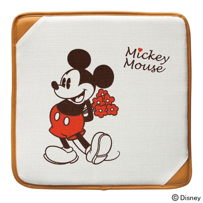 ミッキー/ナチュラル シートクッション 40×40cm|Disney(ディズニー)