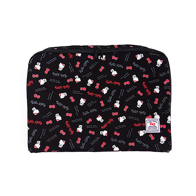 Hello Kitty(ハローキティ)/スタンダードロゴ柄 衣類ケース Lサイズ (ア)ブラック