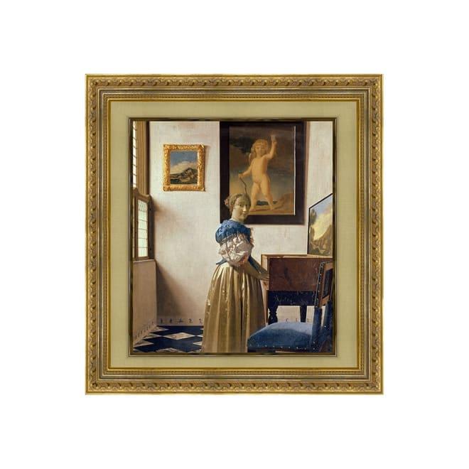 フェルメール/ヴァージナルの前に立つ女(複製画)