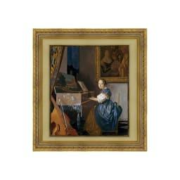 フェルメール/ヴァージナルの前に座る女 青(複製画)