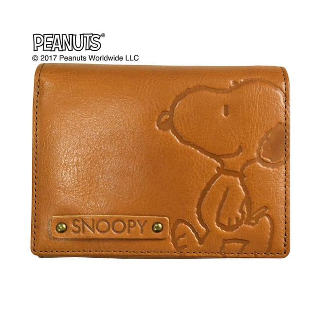 SNOOPY(スヌーピー)/スヌーピーウォーク LF二つ折れ牛革財布|PEANUTS (ア)キャメル