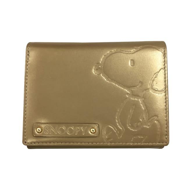 SNOOPY(スヌーピー)/ウォーク LF二つ折れ牛革財布|PEANUTS (ア)ゴールド