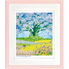 大桜を囲む紫花菜(ムラサキハナナ)/昆虫物語みなしごハッチ:はりたつお