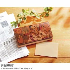 SNOOPY(スヌーピー)/スヌーピー幸せスクラップブック ヌメ革長財布 写真