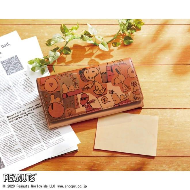 【WEB】SNOOPY(スヌーピー)/スヌーピー幸せスクラップブック ヌメ革長財布