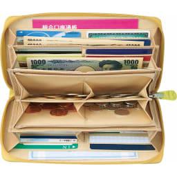 COGIT(コジット)/36カードたっぷり仕分け財布 ファスナー開閉で、ジャバラ式なので大きく開いて一度に確認。