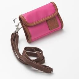 LOGOシリーズ/ウォレット(スキミング防止機能付きのミニ財布) イ:ピンク