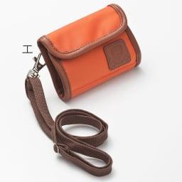 LOGOシリーズ/ウォレット(スキミング防止機能付きのミニ財布) エ:オレンジ