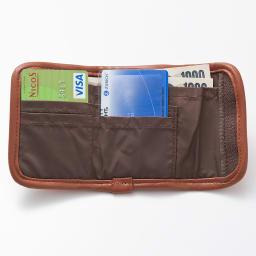 LOGOシリーズ/ウォレット(スキミング防止機能付きのミニ財布) カードやコイン、紙幣などコンパクトなのに充実した収納機能が満載!