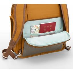 カナナフリーウェイ2WAYリュック(小) 貴重品管理に便利な背面セキュリティポケット。