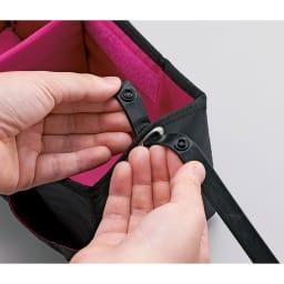 COGIT(コジット)/持ち運びに便利な洗えるコスメバスケット 持ち手はホックボタンで取り外し可能。