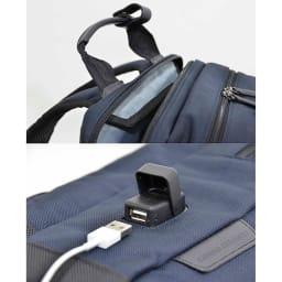 エンドー鞄/NEOPRO(ネオプロ) CONNECT スマホを充電USBポート搭載バックパック ハンドルのスリップ防止。革を挟んで深い位置で縫い合わす